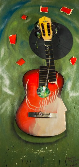 """Mississippi Red"" 2011, 21 x 48 x 4 guitar, mixed media on plywood. Mississippi Red is a three dimensional assemblage consisting of a smashed guitar and the bed of a record player with acrylic and metallic paint."